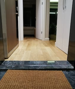 This 3 cm-high curb at the flat entrance might be the only obstacle you'll see throughout the whole flat and the building.