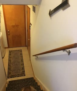 These are the steps you go down that lead to your lower level room.