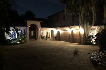 Well lit driveway with auto lights from dusk until dawn