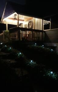 Lit sidewalk and porch lights