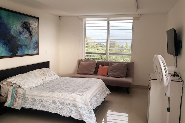 Cuarto principal, cama doble, cama sencilla, sofa cama, closet, baño