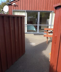 When you come through the wooden gate the security light will come on. You can then see the lockbox on the right.