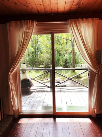 Open up the front curtains for tons of light, or close them for complete privacy.