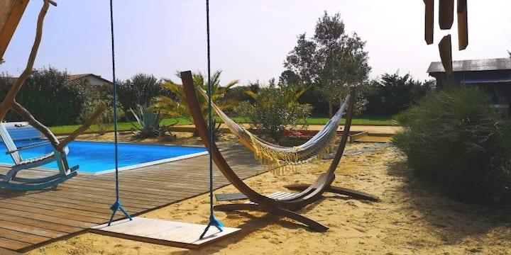Villa piscine & pétanque  entre Biarritz/Hossegor