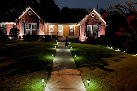 We have solar lights along the pathway, we have led lights on the porch and a single front porch light. We also have several up lights in the front of the house.