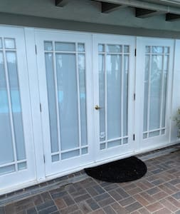 The Cabana can be accessed through two sets of double French doors