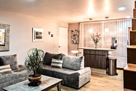 Departamento de un solo piso (las escaleras dan al roof garden) la recámara y el baño se encuentra en el mismo piso con accesos amplios sin ningún escalón