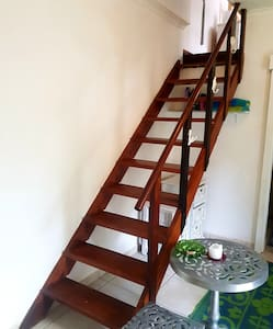 stairs to loft bedroom,  not suitable for elderly, lower entrance ceiling . please mind ur head.