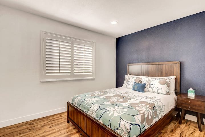 Third guest bedroom is on the bottom floor. It is furnished with comfortable queen size bed