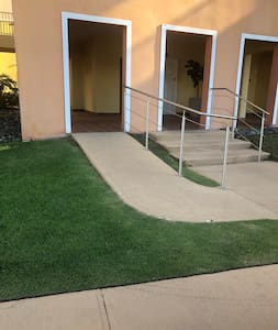 Sidewalk and ramp for easy access