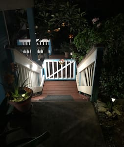 Rocky driveway then 6 steps down to single level apartment. Well lit at night with double side rails and anti slip treads.
