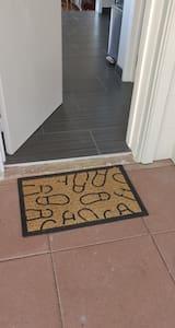 Entrance way, slight lip onto tiles