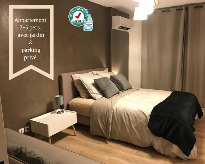 """apartement """"loft"""" avec jardin ensoleillé de 100m2"""