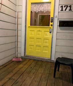 Large door ways and hardwood floors.  We do have steps though entering and to access bathrooms and bedrooms.