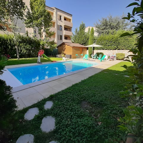 3 Seater Studio, Garden Floor Terrace and Pool