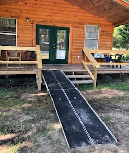 We have portable aluminum handicap ramp that can be put at cabin1, 2, or 5.  #3 & 4 already have access ramp built in.