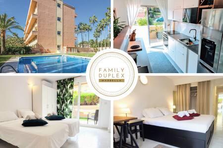 'Family Duplex' 500m to Beach+Pool, WiFi & Netflix