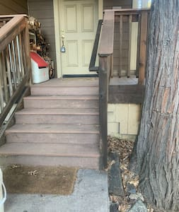 """Stairs to the front door which Is 36"""" wide."""