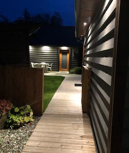 The lights are on a motion sensor and automatically turn on as you reach the left side of the driveway.