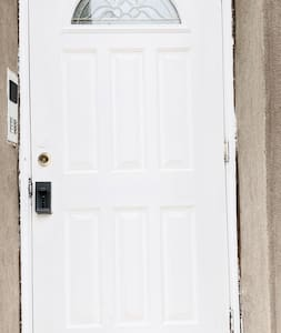 """Front door is 36"""" wide. There are a few steps to reach the front door."""