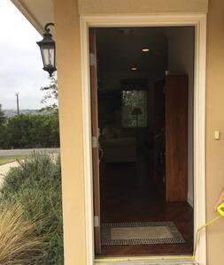 Door is 36 in wide. Hallway is 49 in wide.