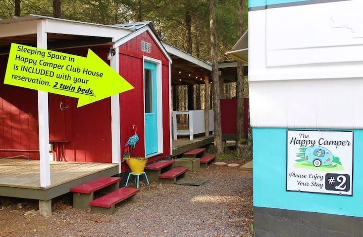Sleeping space in The Happy Camper Club House is INCLUDED with your reservation. 2 Twin beds.