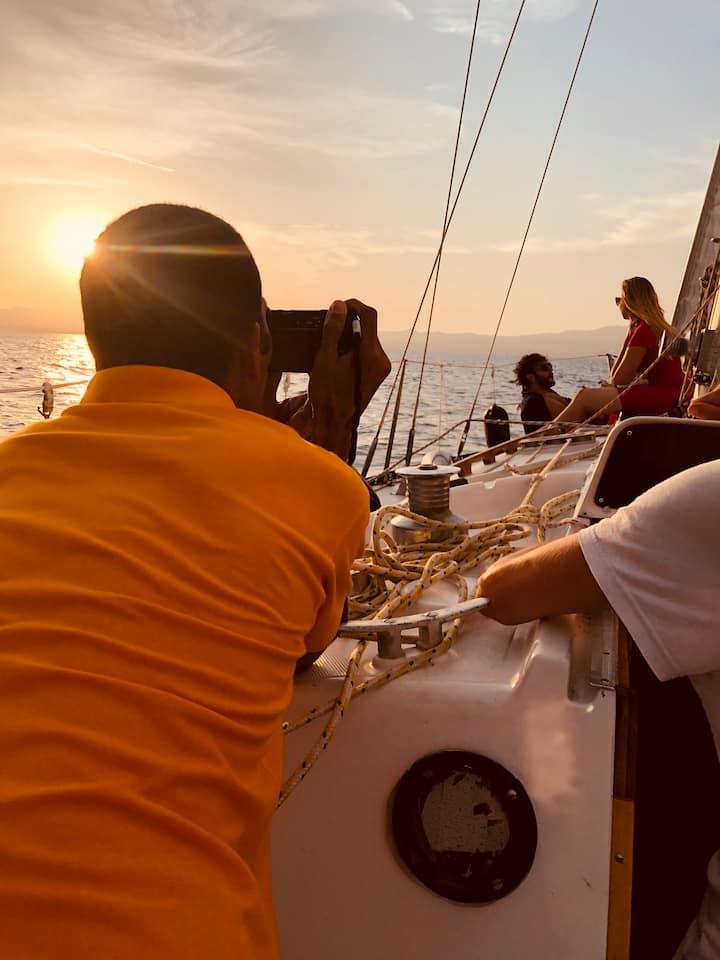 Boat Floating House sleep in the mediterranean sea