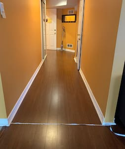 The hallway is 45 inches wide.
