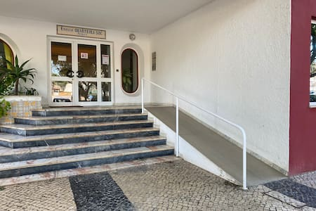 Building entrance with ramp.