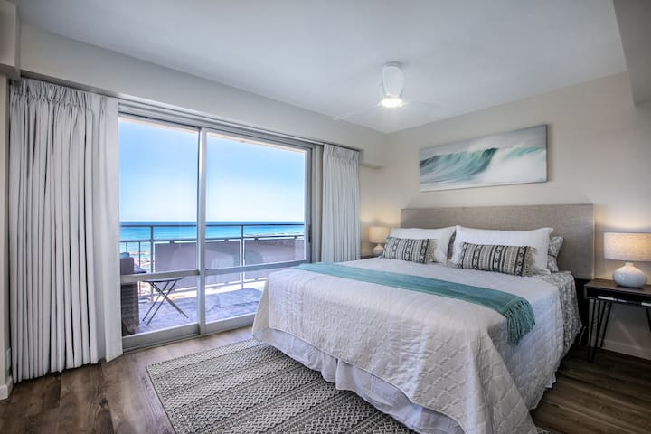 Master bedroom features endless ocean views and private balcony