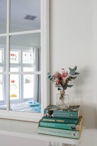 Bedroom 1 - Queen bed, ornamental fireplace, stunning leadlight window.