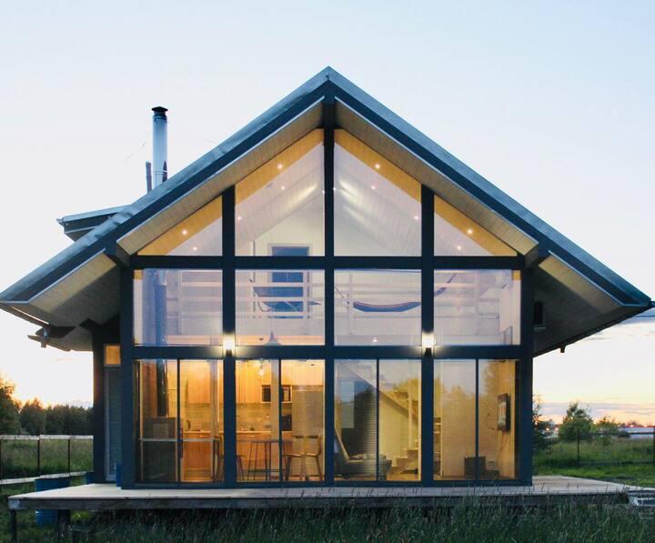 Дом 120квм, с панорамным остеклением