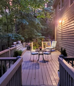 Garage and private parking. plus our guest's personal sitting & dining deck are secured with motion lights to ensure the path to your keypad entry is pleasant.