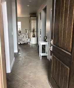 Wide hallways, open main floor, no steps on main. Stamped Concrete flooring on main level for ease of maneuvering with walkers or wheelchairs, scooters, etc.