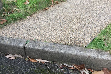 One kerb step up from the car park
