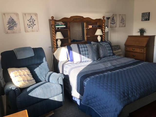 Master bedroom, work space, with private master suite full bathroom