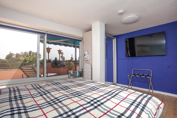 """Bedroom view to terrace. Smart androind 55"""" TV. Walk in closet"""