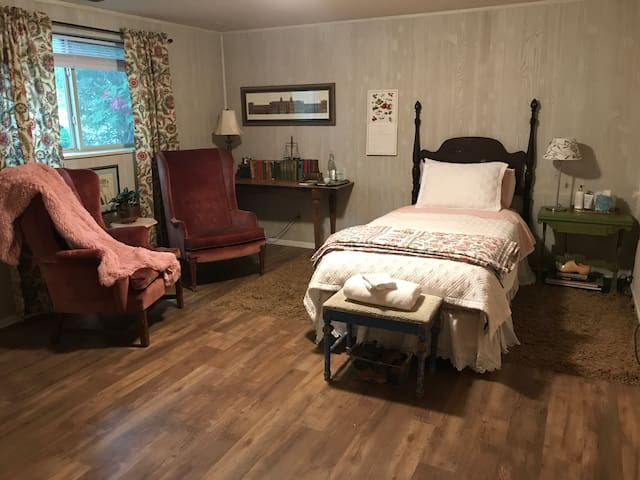 Second room available when you are with a traveling partner. This additional price of this room is $50 because it has a curtain and not a door. Be sure to book for 2 guests to count this room in your total.