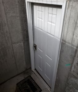 """36"""" entry into basement but there are stairs to get down to the door."""