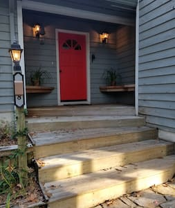Front entrance steps and lighting.