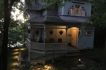 Well-lit steps, pathway and handrails make navigating after dark easy.