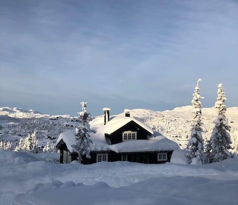 Tømmerhytta på Høgevarde /Flå med fine skiforhold