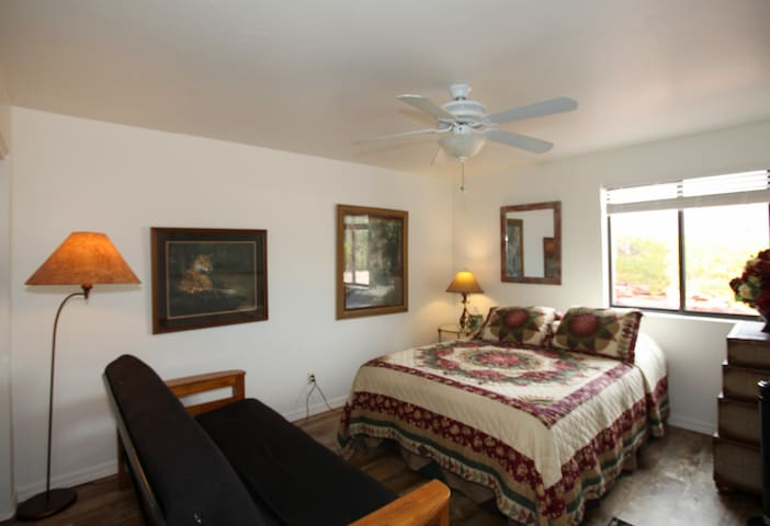 Master bedroom with futon for reading and relaxing and a trunk as one of three dressers.