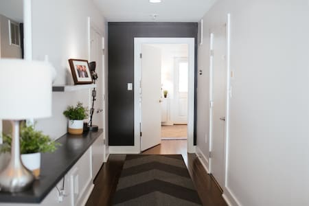 Guests with accessibility needs may use the front entrance which leads to the guest suite through this hallway.