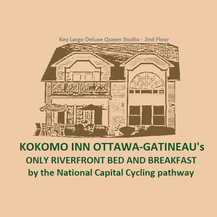 Kokomo Inn B&B-KEY LARGO Deluxe Queen Studio with self-serve bountiful breakfast - Romantic Tropical Adults-only  Ottawa-Gatineau Riverfront Bed and Breakfast.  CITQ #175420