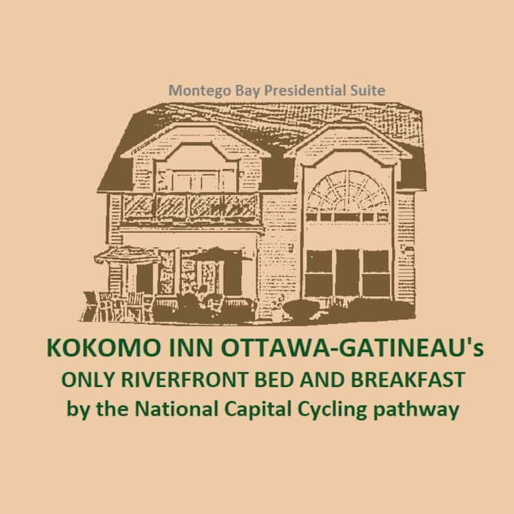 Kokomo Inn B&B-Montego Bay Tropical Presidential suite Staycation in Romantic Adults-only Riverfront B&B with Amazing View of Ottawa, Rideau Falls and Prime Minister's residence. CITQ #175420