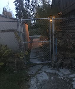 Driveway, gate, walk to BnB entrance
