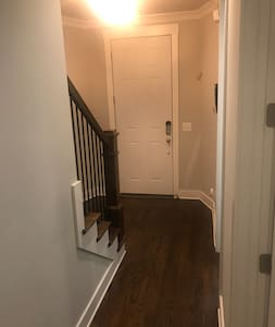"The door is 36"" across and it is 68"" from inside the doorway to the base of the stairs"