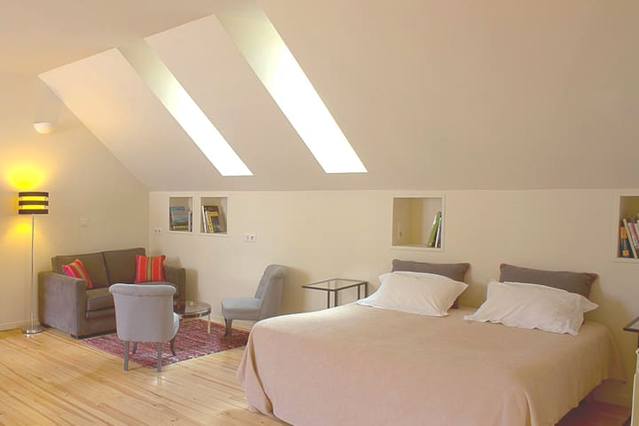 The Loft Studio - open plan living 55 m2 .  Large double bed or 2 singles plus sofa bed which is suitable for a child.