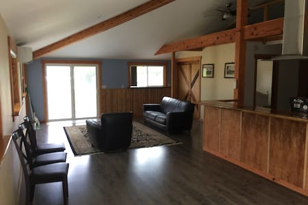 Open space for living room, kitchen, dining room. Large sliding barn door for easy access to the bedroom.